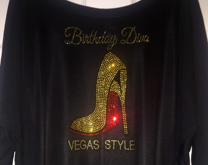 Gold and red Birthday Diva Vegas Style Shirt , off the shoulder, slouchy oversized, women's birthday shirts , gold rhinestone , las vegas