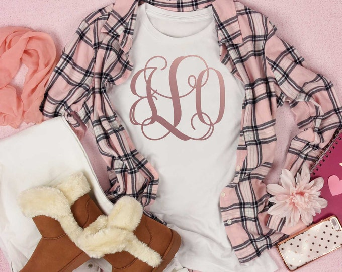 Vines monogrammed shirt, rose gold vines shirts, initial shirt, cute monogrammed shirts , monogram shirt , shirts with initials , girls tee