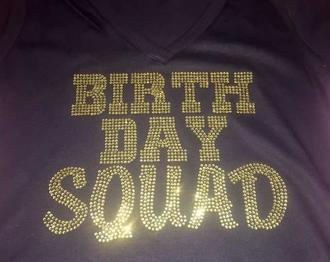 GOLD BIRTHDAY SQUAD shirts , Birthday t-shirts with gold rhinestones by Birthday Squad, Women's birthday tees, Bling birthday party shirts