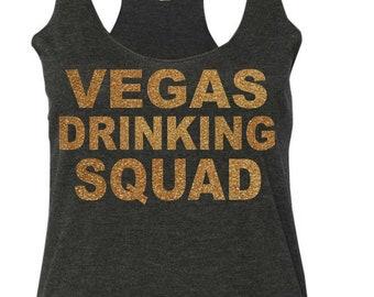 Vegas Drinking Shirts. Vegas crew glitzy tshirt or Tank Top . Short sleeve, wide neck, flowy, beach cover up shirt . Bachelorette birthday.