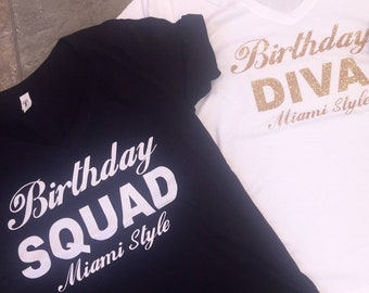 Birthday Divas Squad shirts . Custom name and city birthday shirts . Women's birthday tees - gold glitter . Bday destination birthday top.