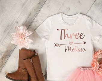 Cute Birthday number shirt - Three birthday shirt - third birthday - fourth birthday t-shirt - toddler girls birthday tees - girls shirts