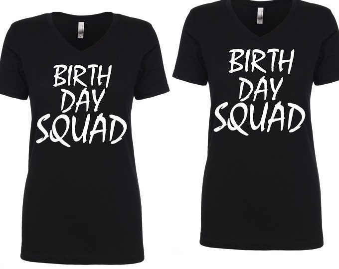 set of 5 birthday shirts - adult birthday t-shirt - BIRTHDAY SQUAD SHIRTS - black, pink, purple, green, red, blue- v neck short sleeve
