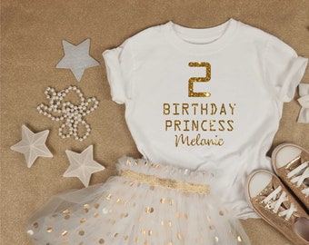 Birthday Princess shirt, 2nd, 3rd, 4th , 5th, 6th , birthday shirts for girls, gold glitter birthday t-shirt, soft unisex birthday shirts