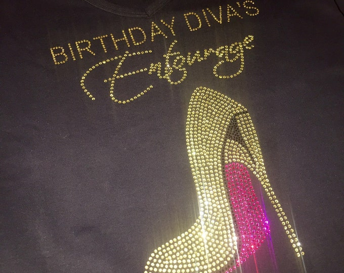 Birthday Shirt Women , Women's birthday shirt birthday diva's entourage shirts , birthday divas t-shirts , gold bling shirts , Hot pink .