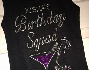 Birthday Squad shirts. Set of 6 birthday tees. Birthday tank tops. Custom birthday shirts. Personalized Birthday Squad Shirts.