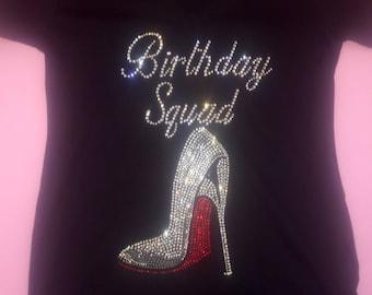 Birthday squad red high heel shirt . Birthday squad tshirt . Women's birthday tee. Birthday shoe tank top. Birthday squad tee shirts