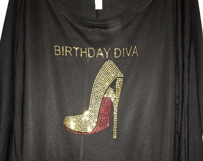 New York Birthday Shirt . Girl Birthday New York Style Bling tees .  Bday rhinestone tops . Ladies Birthday long sleeve birthday shirts .