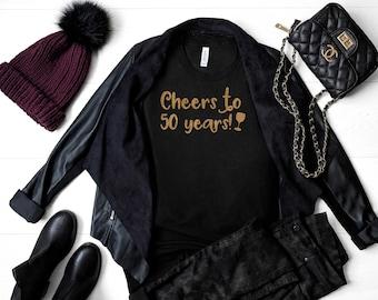 Cheers to 50 years shirt, cute birthday shirts for women , gold glitter birthday shirt, custom birth day t-shirt , Personalized number tank
