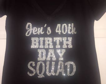 Personalized Birthday Squad™ Shirts . Customized birthday glitter t shirts . Large print , silver glitter short sleeve scoop or v neck top