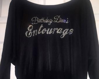 Birthday divas entourage long sleeve off shoulder shirts . Ladies birthday bling shirt. Birthday entourage rhinestone slouchy shirt .