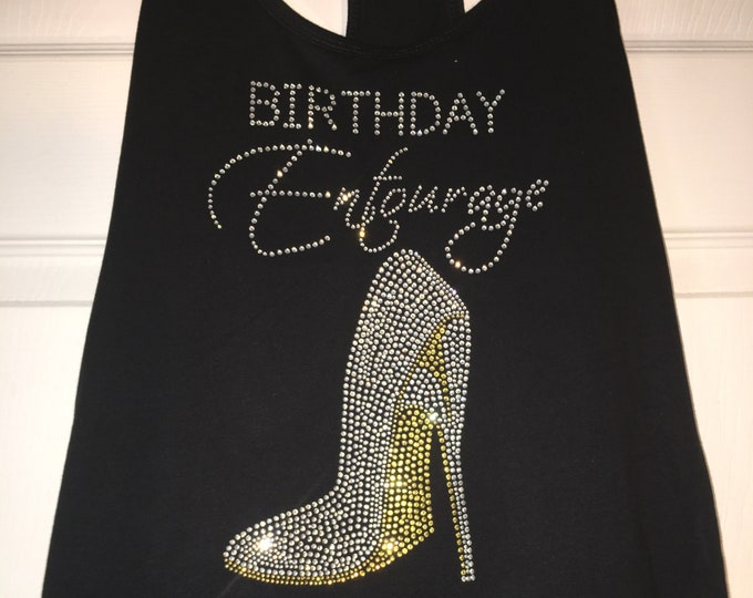 Women's Birthday shirt , Birthday entourage Rhinestone tank top , birthday trip t shirts, Las Vegas entourage tee, cute girls vacation shirt