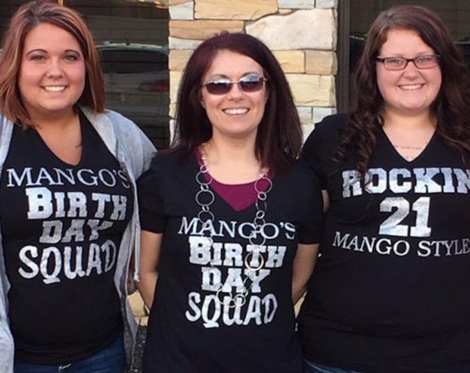 5 custom birthday Squad shirts . Adult birthday shirts . ladies birthday t-shirts . Personalized birthday squad t-shirts. hot pink, black,