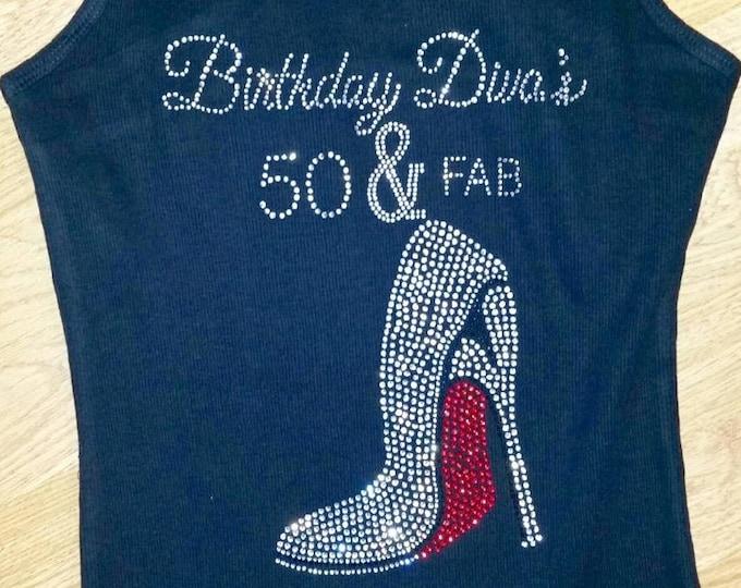 598e6f45f 50th Birthday Shirts - 50 and Fab Birthday Entourage Shirts - Black, hot  pink,