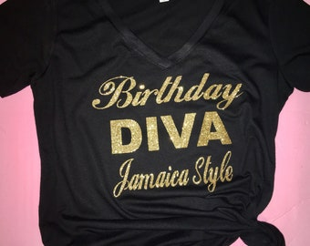 Birthday tshirt , Birthday diva gold shirt , birthday tees for women , birthday top, rosegold glitter birthday tshirt , women's tees