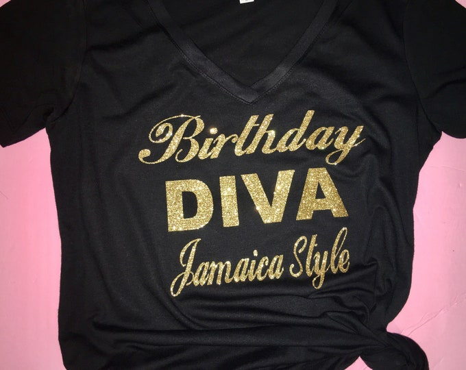 Birthday Tshirt Diva Gold Shirt Tees For Women Top