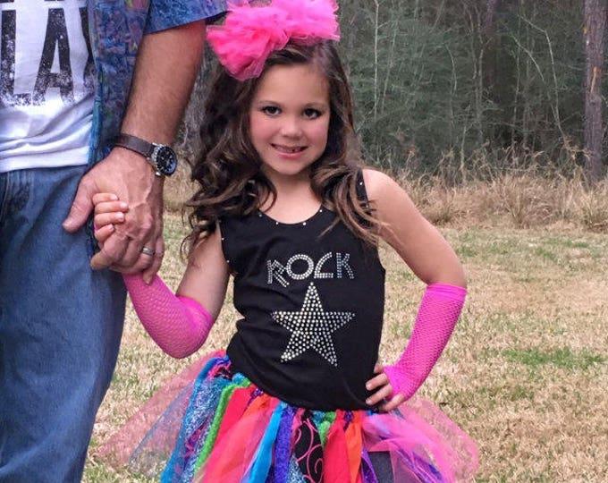 Rock Star Birthday Party supplies . Rock star tank top or t-shirt . Girls Birthday Rhinestone shirts . 2T, 3, 4, 5, 6, 7, 8 , 10, 12, 14