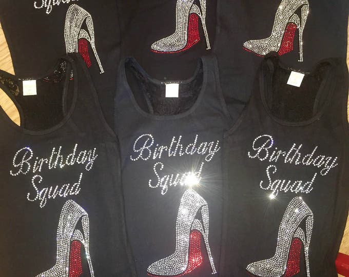 5, 6, 7, 8 birthday squad shirts. Ladies birthday t-shirts. Birthday squad stellito tank tops. Birthday tees. Nashville birthday t-shirts.