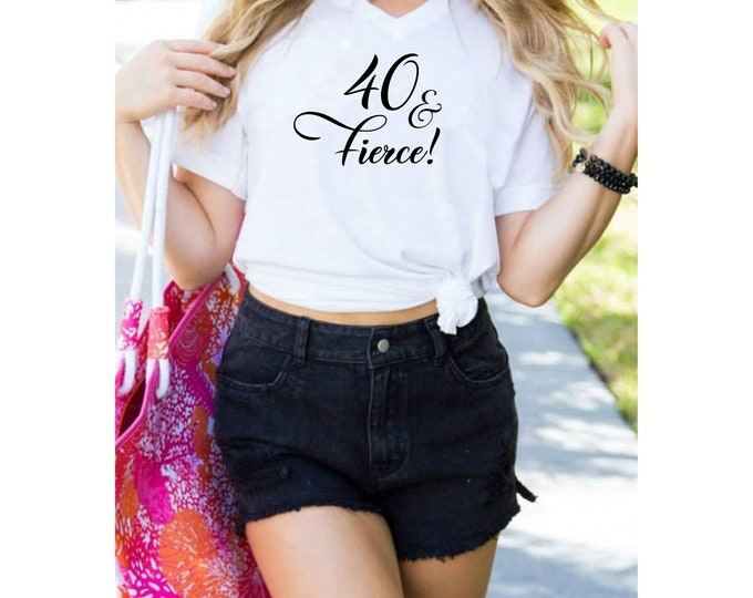 40th birthday shirt for women , fierce and 40 rhinestone t-shirt, party tees
