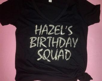 Ladies Birthday Squad V Neck Tee Shirts - Black and silver birthday Shirts