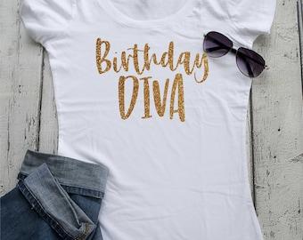 Birthday Diva gold glitter shirt . Ladies birthday tshirt. Adult birthday shirt - 21st birthday shirt - 25th birthday - 29th birthday tops