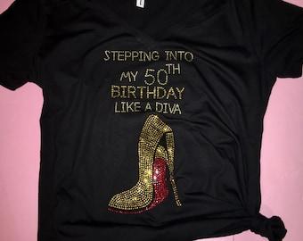 Birthday Shirts Women 50th Tee Ladies Gold Rhinestone Shirt Diva T