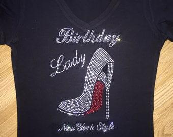 Ladies Birthday Shirt- New York Style Tank Top - Red Bottom Shoe - Birthday T-shirts - black, purple, hot pink, royal blue, green, white