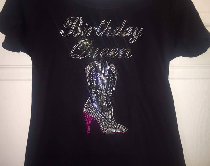 Birthday queen rhinestone shirt . Sassy , blingy bday shirt . Women's birthday tee . Nashville Tennessee birthday shirt . Birthday tees .