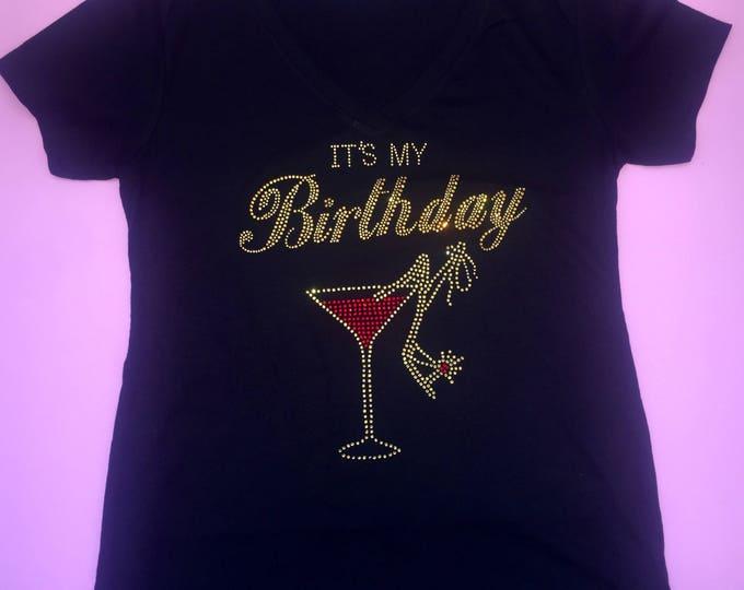 Gold rhinestone birthday girl shirt . Birthday tee . Women's birthday t-shirt with martini glass . Ladies v neck short sleeve fitted top.