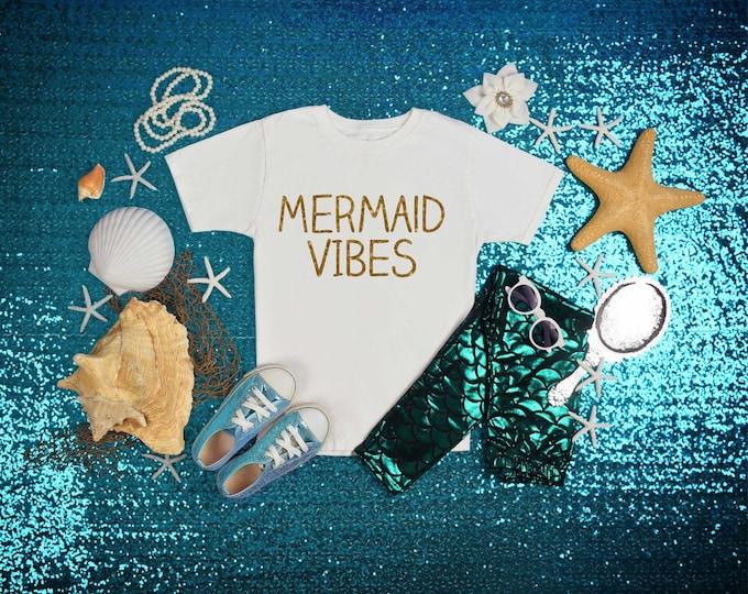 Mermaid Vibes birthday shirt, cute toddler t-shirt for girls, custom birthday shirt, mermaid beach themed party, girls bday shirt , 2nd, 3rd