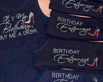 6 Birthday Diva Entourage tank top / ladies birthday tank tops / 21st 30th 40th 50th / girls weekend tank tops / rhinestone birthday tanks