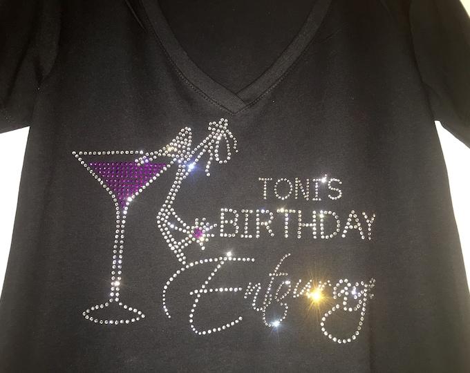 Birthday Entourage shirt - Womens Custom Birthday Entourage Shirts - Personalized with nave birthday t-shirts - birthday bling shirts -