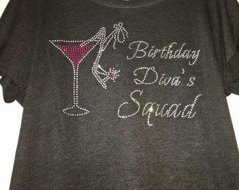 Birthday Diva's Squad Entourage Tank Top or Short sleeve v neck tee shirt. Birthday dolman shirt . Birthday divas squad t-shirt for women