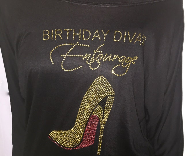 Gold Bling Off the Shoulder Birthday Shirts // Birthday Diva's Entourage Slouchy Shirts with big Pink Shoe  // Soft pink and gold birthday