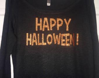 Cute Fall Shirts / Happy Halloween Shirt / Womens Halloween t-shirt / Halloween shirts for women / halloween top / Glitter halloween tee