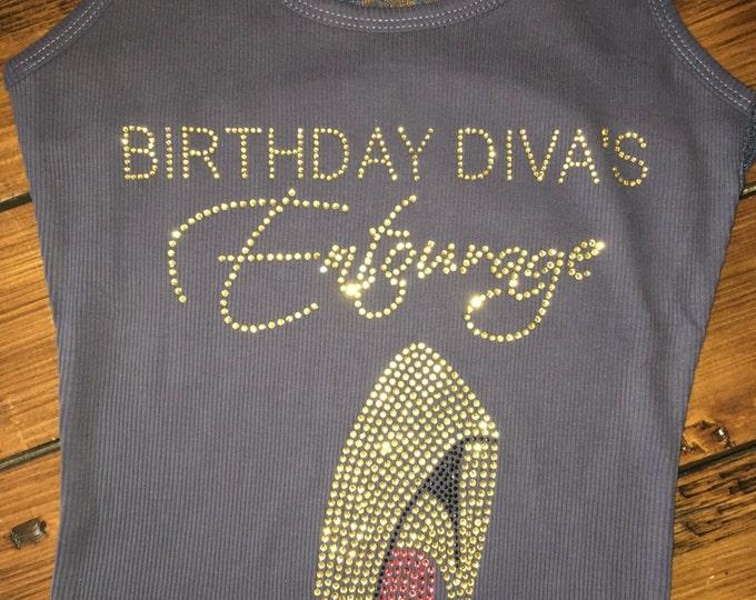 Gold Rhinestone Birthday Divas Entourage Shirts Ladies Bling Shirt