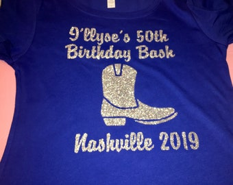 Custom nashville girls weekend shirts , customized Nash t-shirt, southern bachelorette shirts , cowgirl boot tee shirt , birthday tees
