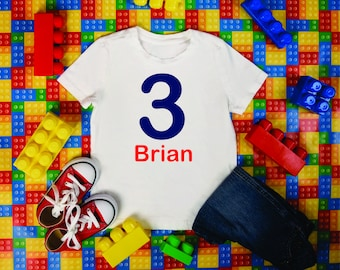 Toddler 3rd birthday shirt, three, birthday shirts for boys , personalized birthday t-shirt, birthday shirts with names, birthday tees , 3t