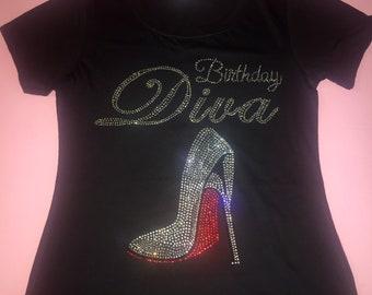 Birthday diva t shirt - birthday diva red shoe shoe - women's birthday t shirts - birthday entourage women's - rhinestones v neck shirts -