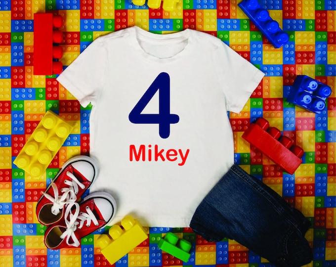 Boys 4th birthday shirt , building blocks birthday t-shirt , bright color birthday shirts, customized birthday shirt for toddlers, youth
