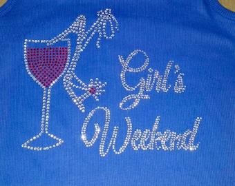 Royal blue girls weekend tank tops. Bachelorette shirts . Bachelorette party tank tops. Girls weekend bling rhinestone ribbed tanks .
