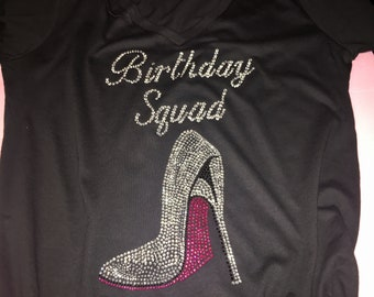 Birthday squad shirt , birthday shirts for women, ladies birthday t-shirt, rhinestone birthday shirts, v neck birthday group friends tees