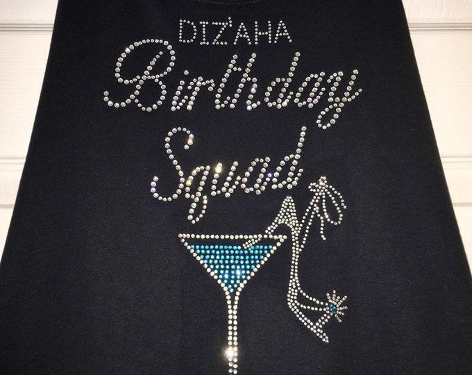 Birthday Shirts .  Set of 7 rhinestone birthday tees. Birthday tank tops. Custom birthday shirts. Personalized Birthday Squad Shirts.