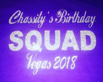 Custom group order of birthday squad tanks . 4, 5, 6 set Punta Cana style birthday tank tops. Personalized city birthday glitter shirts .