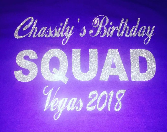 Custom group order of birthday squad tanks . 4, 5, 6 set Punta Cana style birthday tank tops. Personalized city birthday glitter shirts .
