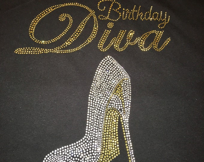 Birthday Diva shirt . Gold silver shoe birthday tshirt or tank top. Las Vegas birthday shirts . Birthday tees . Jeweled birthday t-shirts.