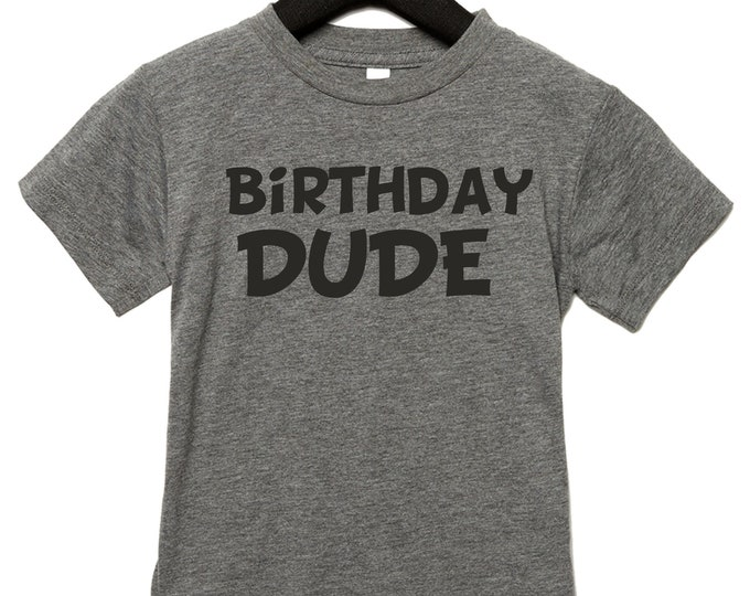 Kids Birthday Dude Shirt , Boys birthday tshirt, birthday shirts for boys , toddler birthday, size 3t, 4t, 5, 6, 7, 8- grey, black, blue
