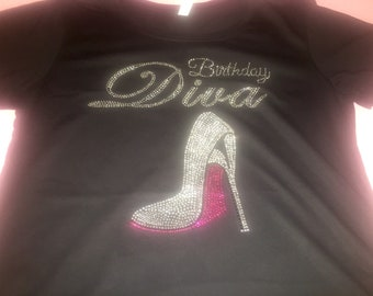 BIRTHDAY DIVA SHIRT for women , birthday t-shirts , Diva squad shirts , rhinestone bday tops with hot pink shoe , 3x, 2x, xl, large, medium