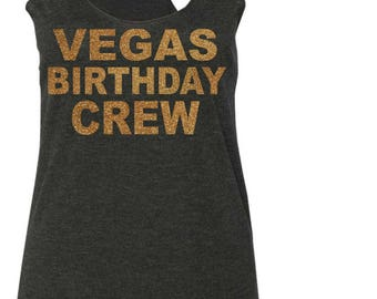 Las Vegas Birthday crew gold Shirt . Las Vegas Birthday Gold and black Birthday Tops - loose birthday crew shirts - cold shoulder, flowy tee