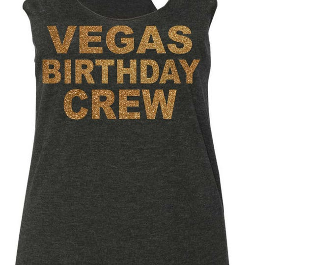 Las Vegas Birthday crew gold Shirt . Las Vegas Birthday Gold and black Birthday Tops - loose birthday crew shirts - cold shoulder, flowy tee
